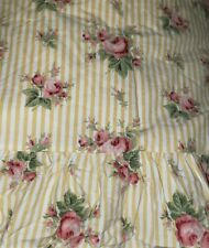 Awesome Ralph Lauren Sophie Brooke Twin Flat Sheet  Yellow Stripes Rose Floral