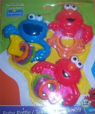 Sesame Street 3PK Rattle with Rings & Teether, ELMO, COOKIE MONSTER, BABY SHOWER