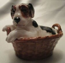 Royal Doulton Hn 2587 Terrier Pub Sitting In Basket Bone China Figurine, England
