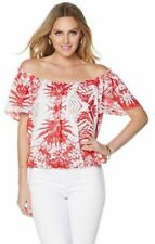 "Colleen Lopez ""South Shore"" Off-the-Shoulder Top red white  1x"