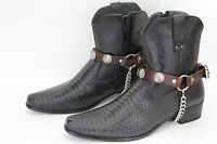 Men Biker Silver Boots Chain Straps Pair Brown Leather Buffalo Bull Charm 5 Cent
