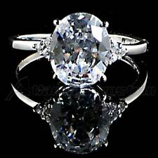 OVAL *RADIANT CUT*_ CLEAR CZ SOLITAIRE RING_SZ-5__925 STERLING SILVER-NF