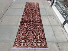 Vintage Traditional Hand Made Oriental Blue Wool Long Narrow Runner 273x76cm