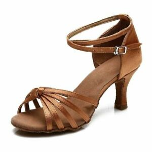 Ballroom Latin Dance Shoes-Women Girls-Tango heeled Salsa-caramel brown size 9