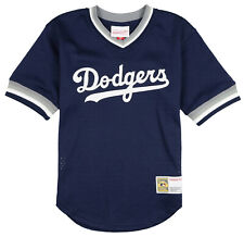 MITCHELL & NESS Youth Los Angeles Dodgers Mesh V-Neck Jersey sz L Large Blue MLB