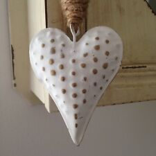 Shabby Chic, White Metal Rustic Star and Heart Hanging Decoration with Spotsi