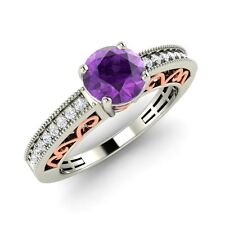 Certified 0.75 Cts Natural Amethyst & SI Diamond 14k White Gold Engagement Ring