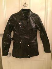 Belstaff Women's black Vinyl /Patent Biker jacket/anorak with belt Gold Label 42