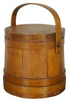 Antique 19th Century Primitive Wooden Firkin Sugar Bucket Basket Bail 10""