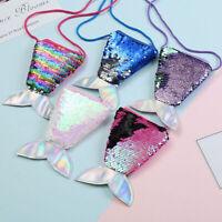 Women Mermaid Tail Sequins Coin Purse Girls Crossbody Bags Sling Money Change