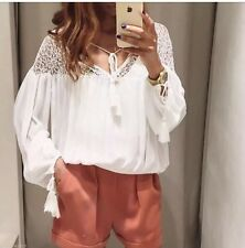 ZARA Ref.6895/045 White/cream Puffed Sleeve Combined Lace Blouse Top M BNWT