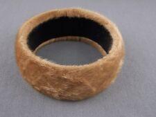 "Camel Brown bangle bracelet faux fur furry 1.25"" wide bangle bracelet cuff"