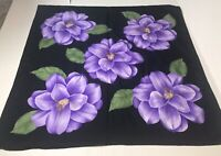 "vintage scarf black purple tropical flowers Italy 30"" square"