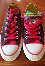Converse Ladies Size 6 Rainbow Multi Tongues Black Casual Shoes Sneakers Lace Up