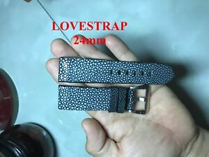 24mm FLAT BLACK Genuine Stingray WATCH STRAP BAND ( Make your request )