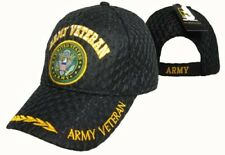 U.S. Army Veteran Vet Textured Mesh Black Ball Cap Embroidered 3D (Licensed)