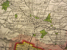 1920 COUNTY MAP of DORSETSHIRE ~ POOLE WEYMOUTH SWANAGE RAILWAYS PARKS SEATS