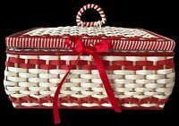 Vintage Retro Kitsch  Woven Plastic Bamboo Sewing Basket Box Cottage Core 50's