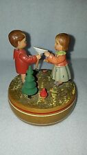 Vintage Anri Music Box Boy and Girl Love Story Reuge Swiss Musical Movement S4