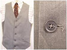 36R S - Vintage 90's Mens Grey Smart Waistcoat Suit Vest Formal Suit Work - U377