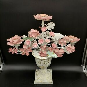 Pink Fairytale Tole Bouquet Metal Flowers Three Candle Rose Candelabra Aesthetic