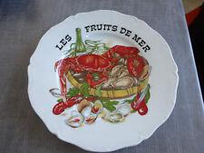 grande assiette plateau les fruits de mer decor crustacés vintage