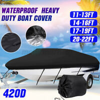 11-22FT Heavy Duty 420D Waterproof Boat Cover Trailerable Ski Fish Bass V-hull