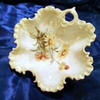 Vintage Hand Painted Scalloped Sunflower Floral Decorative Serving Bowl