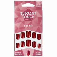 Elegant Touch - Perfect Coloured False Nails Collection - Rich Red (24 Nails)