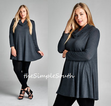 New EMERALD Charcoal Grey Solid Color Cowl Neck Soft Knit Trapeze Tunic Top 3X