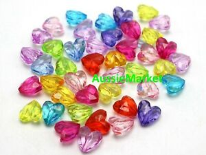 50 x 3d love hearts colourful beads transparent acrylic plastic 12mm jewellery