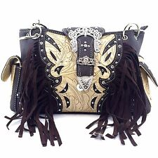Trendy Western Purse Rhinestone Crown Buckle Fringe Conceal Carry Should Brown