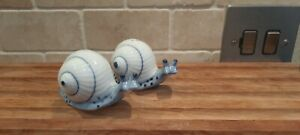 Vintage Ceramic Snails Salt and Pepper Shakers Blue & White Hand Painted Pretty