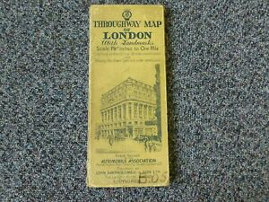 "AA Throughway Map of London with Landmarks 1 1/8"" inches to One Mile"