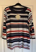 ASHILD WOMENS LONG SLEEVE SMART CASUAL TOP SIZE NAVY BLUE RED WHITE 12 14 16 18
