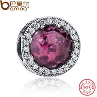 Authentic S925 Sterling Silver Charms With Purple Zircon Fit Pa Bracelets Chain