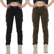 Cotton Blend Cargos Mid Rise Trousers for Women