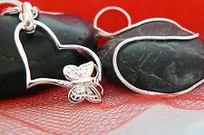 Halskette Herz Farbe Silber Herzanhänger Schmetterling Kette Anhänger