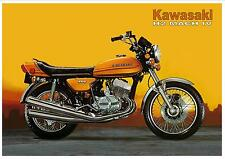 KAWASAKI Poster H2 H2-A Mach IV 750cc 1973 Suitable to Frame Yellow