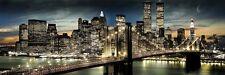 Poster New York bei Nacht Mond über Skyline Brooklyn Bridge Panorama 158 x 53 cm