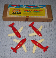 Vintage Shackman Airplane Candle Holders Handcrafted Hardwood Made in Japan