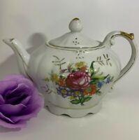 Vintage Made in Japan Musical Floral Rose Gold Lined Teapot