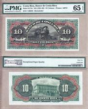 "Costa Rica 1901-08 10 Pesos ""Steam Train"" PMG GEM UNC65 EPQ"