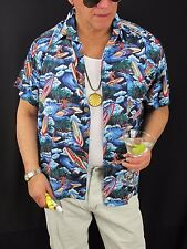 Hawaiian Aloha Shirt Blue Sky Apparel Surf Board Palm Tree Rayon Men's L,  H124