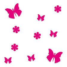 10 Aufkleber Tattoo Pink Schmetterlinge & Blumen Auto Möbel Fenster Deko Folie