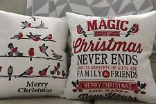 Christmas Cushion Cover: Christmas Bird Print Throw Decor Grey, White, Red Word