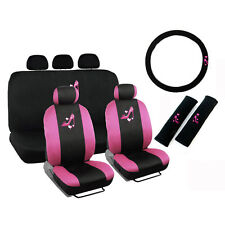 New Pink High Heel Heart Front Back Car Seat Covers Steering Wheel Cover Set