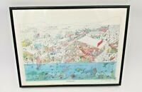 "Vintage Bruce Johnson ""The Augernauts"" Ice Fishing Signed & Framed Print"