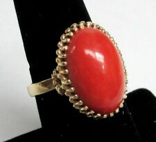 EXQUISITE 14K GOLD & NATURAL CORAL RING SIZE 7 1/4