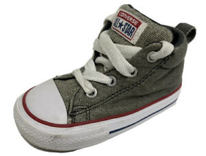 Converse All Star baby boys shoes sneakers textile upper laces gray size 6